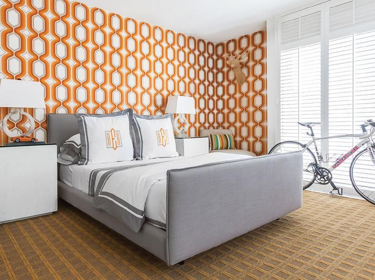 Black And Orange Bedroom contemporary gray and orange bedroom boasts walls clad in orange