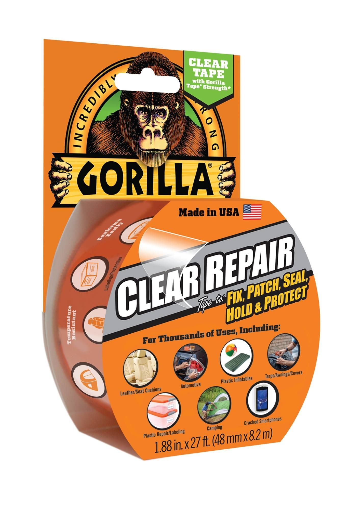 Pick up Gorilla Clear Repair! It has strength, is airtight