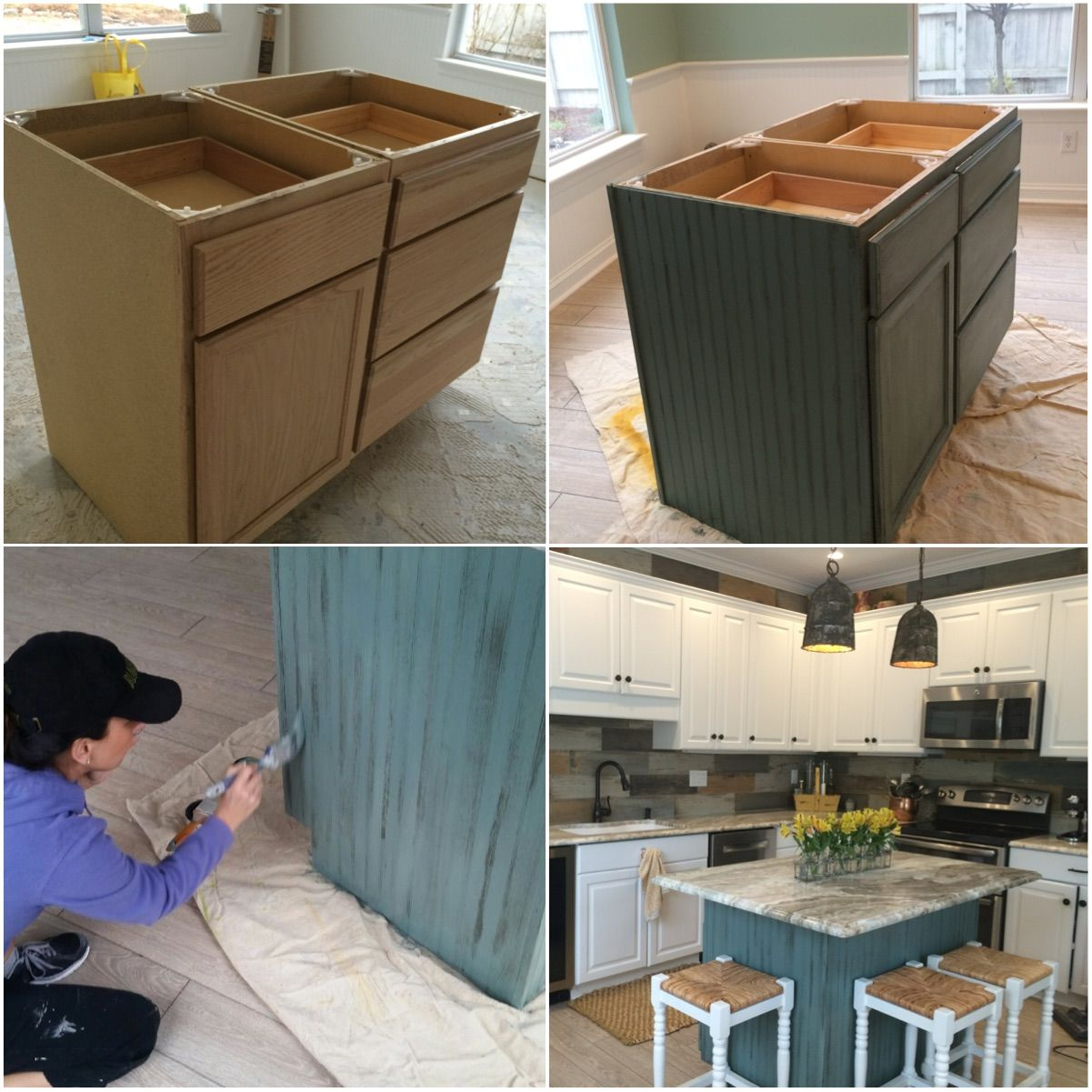 Purchased unfinished wood kitchen island, added 3 sides with ...