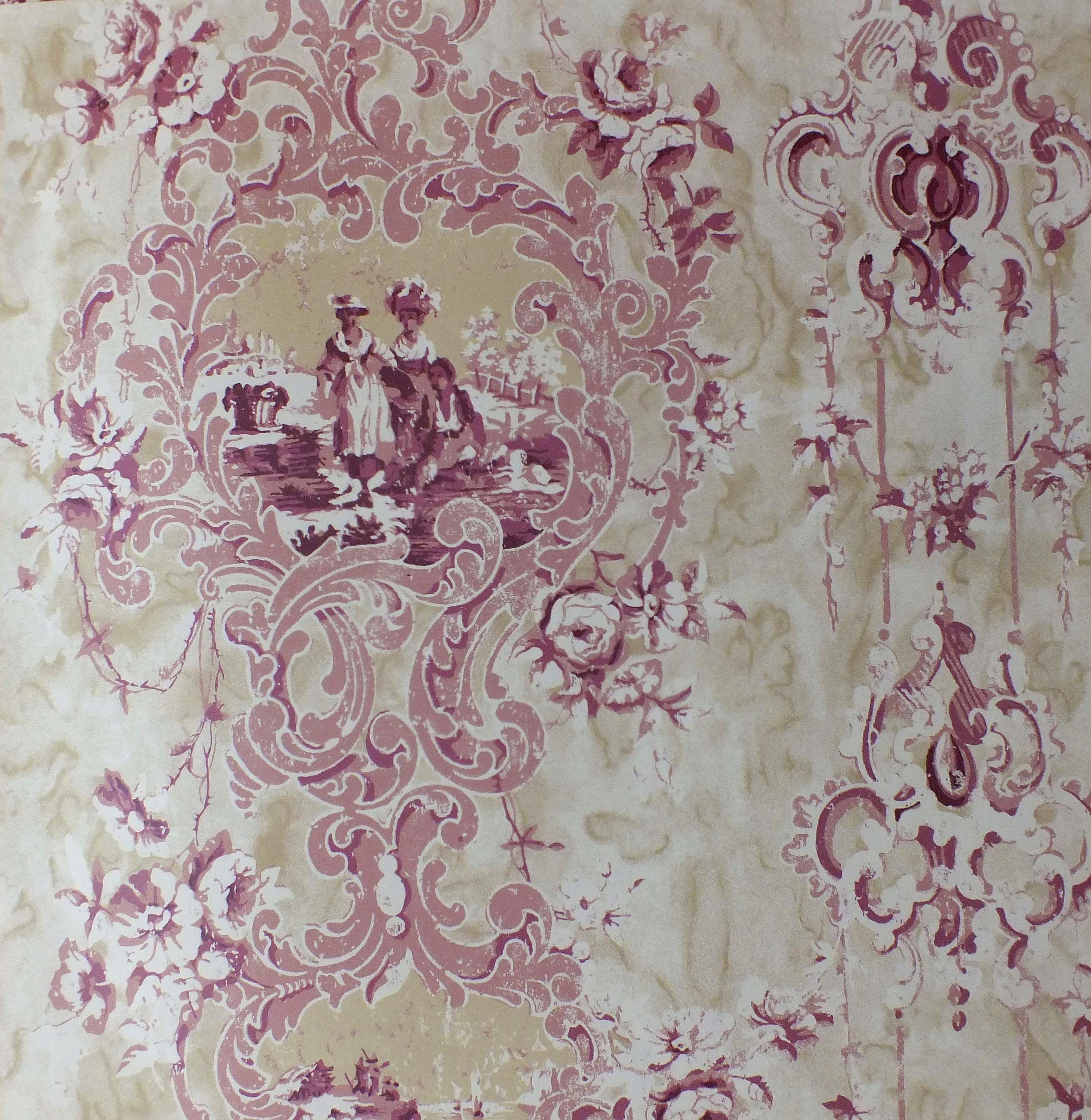 D'Urberville wallpaper in Dusty Rose, Watts 1874 Рококо