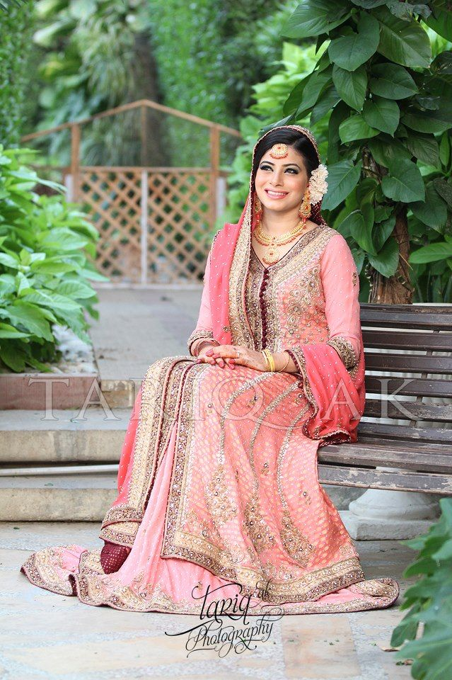 peach and silver color muslim women bridal dress | ♕ Indian ...