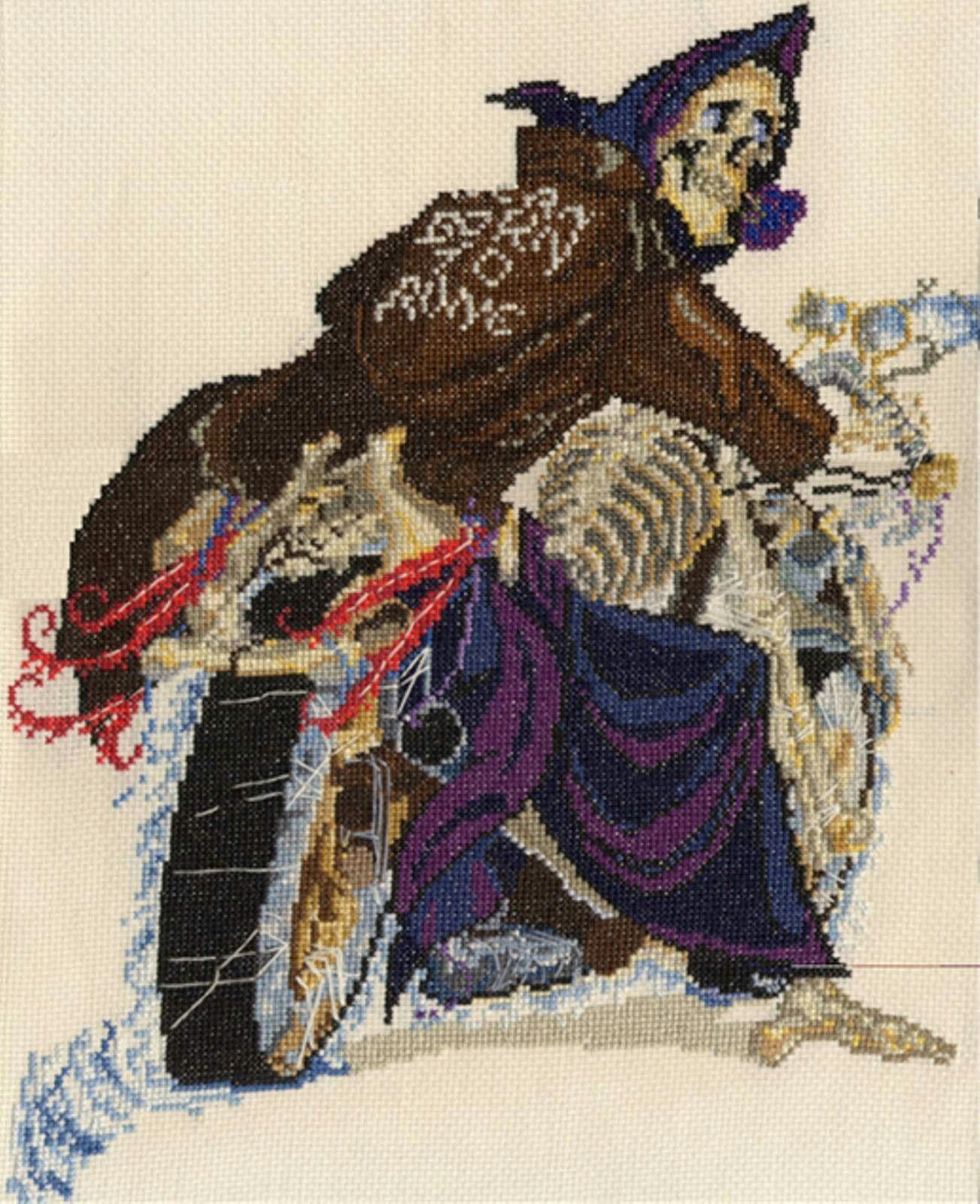 Discworld Rincewind /& the luggage counted cross stitch kit//chart 14s aida