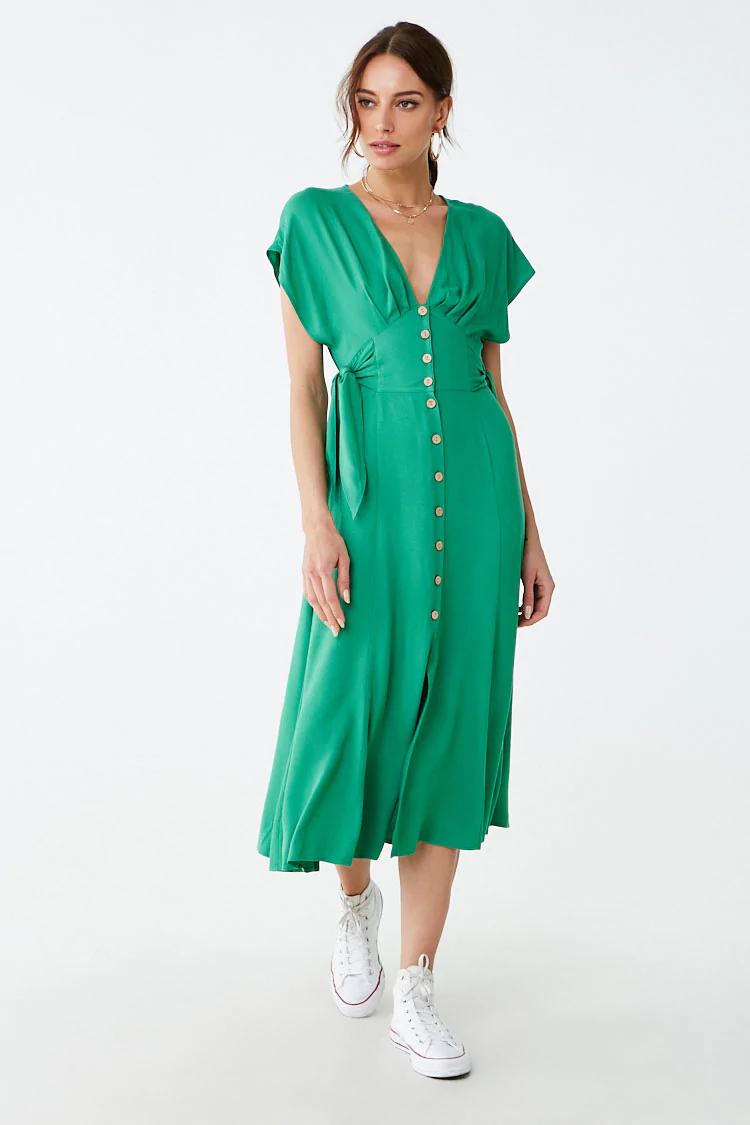 Button Front Midi Dress Forever 21 Dresses Midi Dress Casual Dresses For Teens [ 1125 x 750 Pixel ]