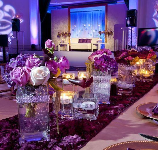 Purple reception wedding flowers decor