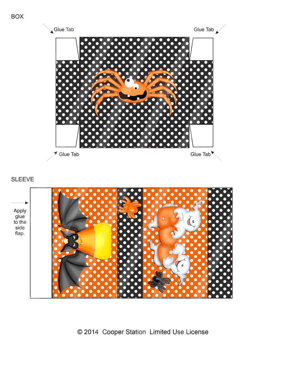 Digital Printable Halloween Treat Box With Ghost And Bat Design
