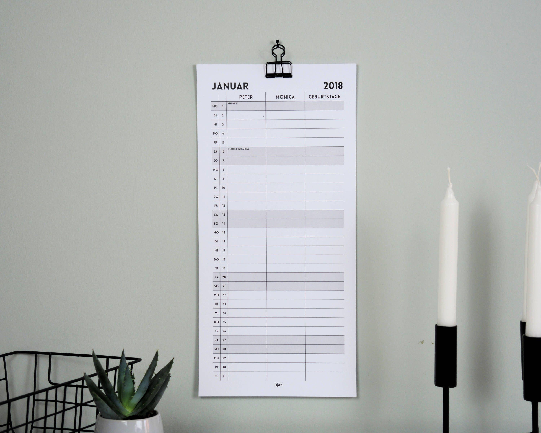 Geburtstagsliste personalisierter familienkalender wandkalender für 2