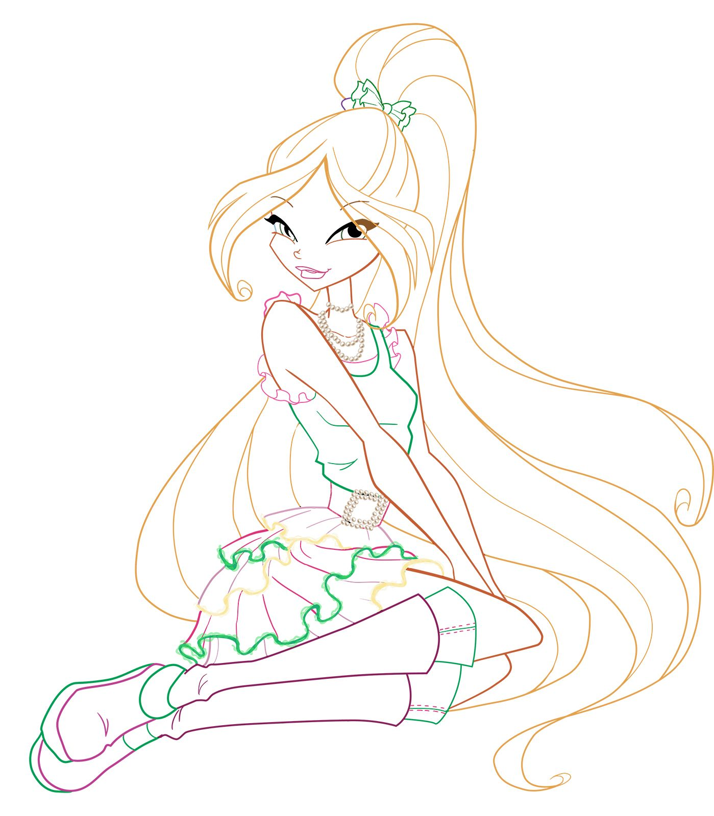 Winx Club Flora Winx Club Coloring Pages Aurora Sleeping Beauty
