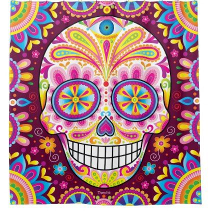 sugar skull shower curtain day of the