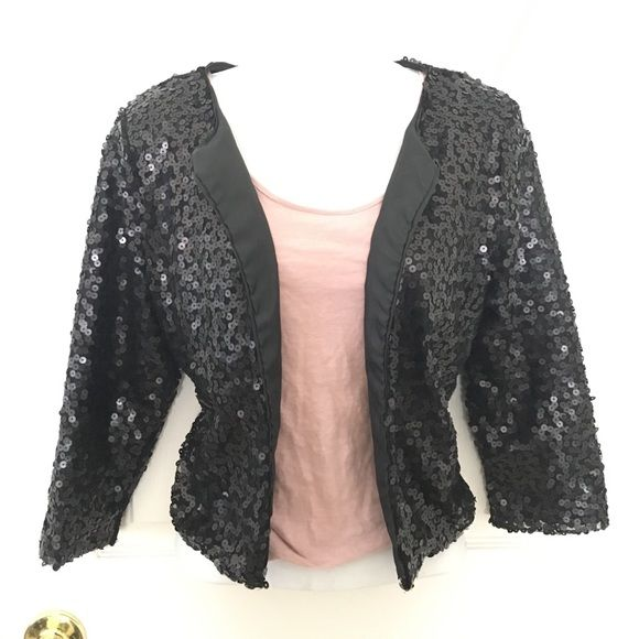 Sequined Jacket Black sequin jacket. Used once. Inside liner has a small rip (see photo) Jackets & Coats