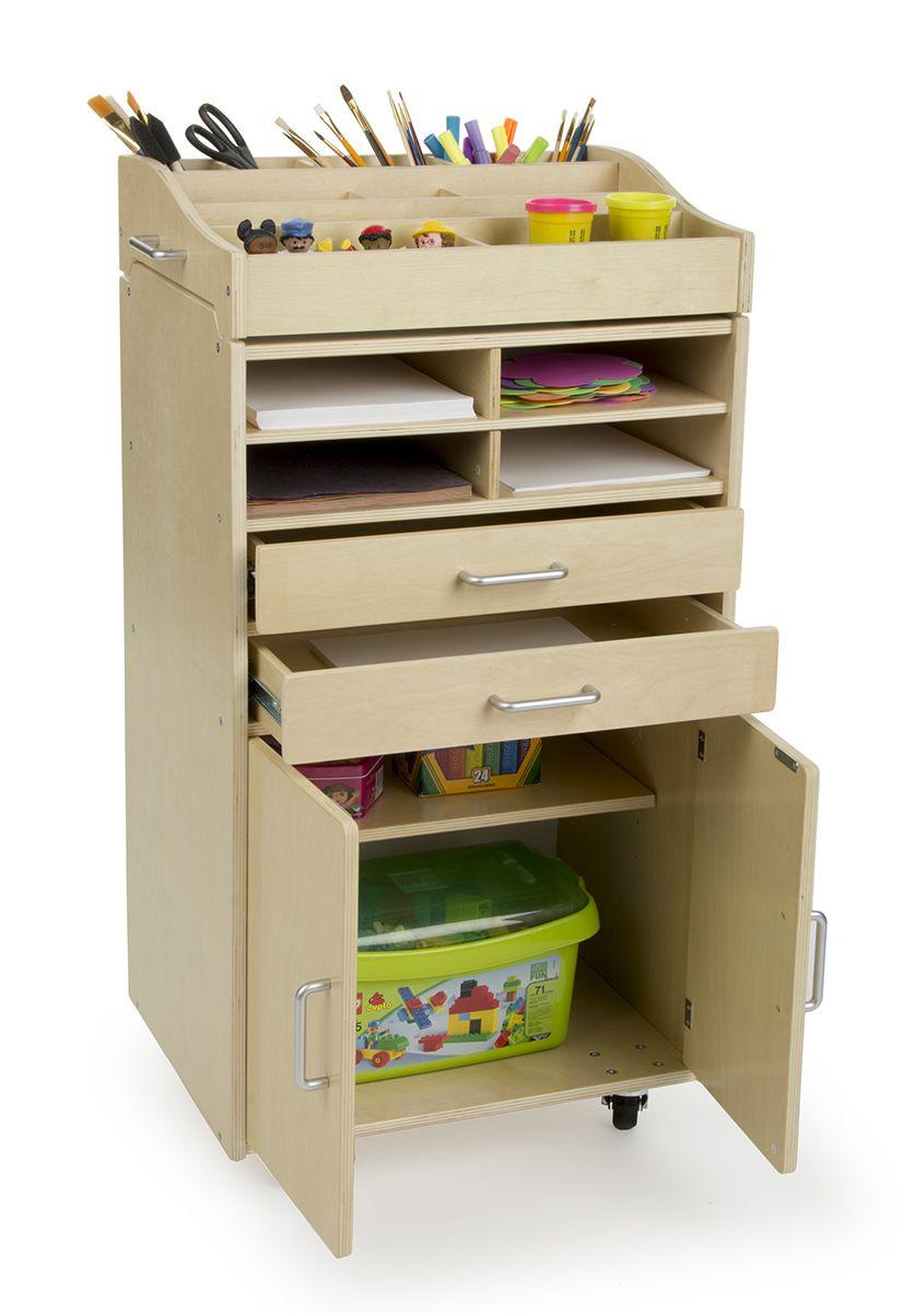 Children's Art Storage Cart, Wheels, Multiple Drawers & Shelves, Baltic  Birch