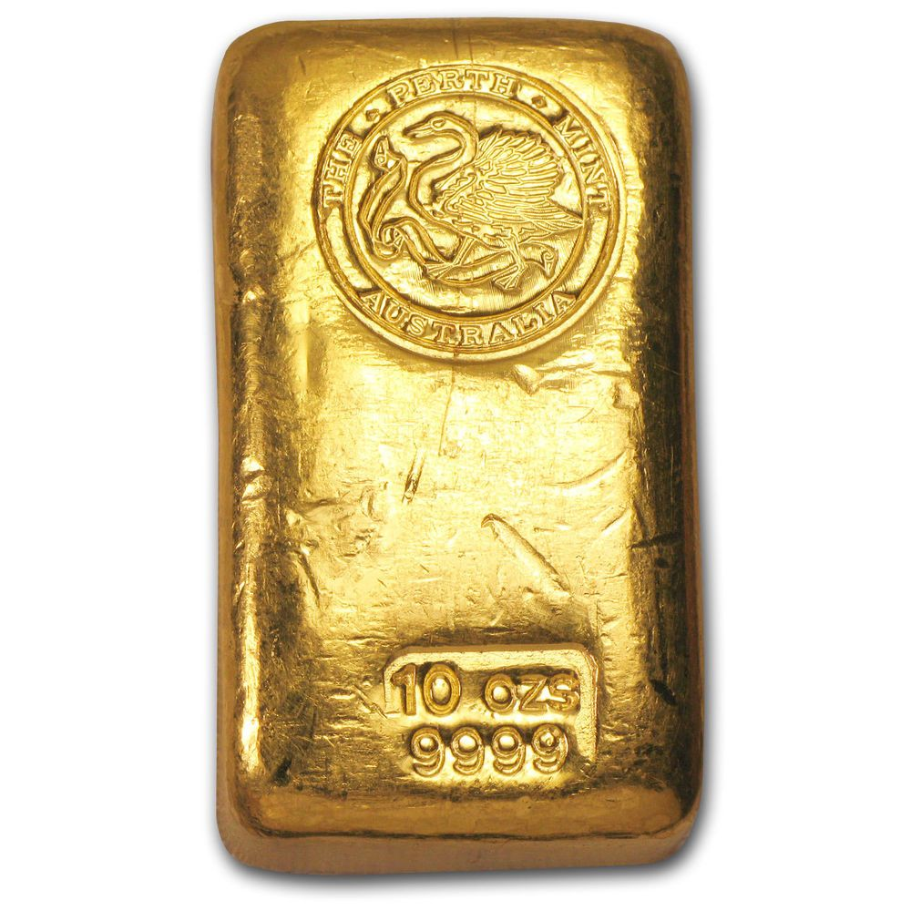 10 Oz Gold Bar Perth Mint Poured Old Style Swan Sku 59979