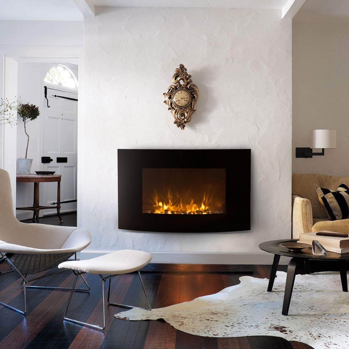 Xtremepowerus 35 Electric Wall Mount Fireplace 1500w Heat