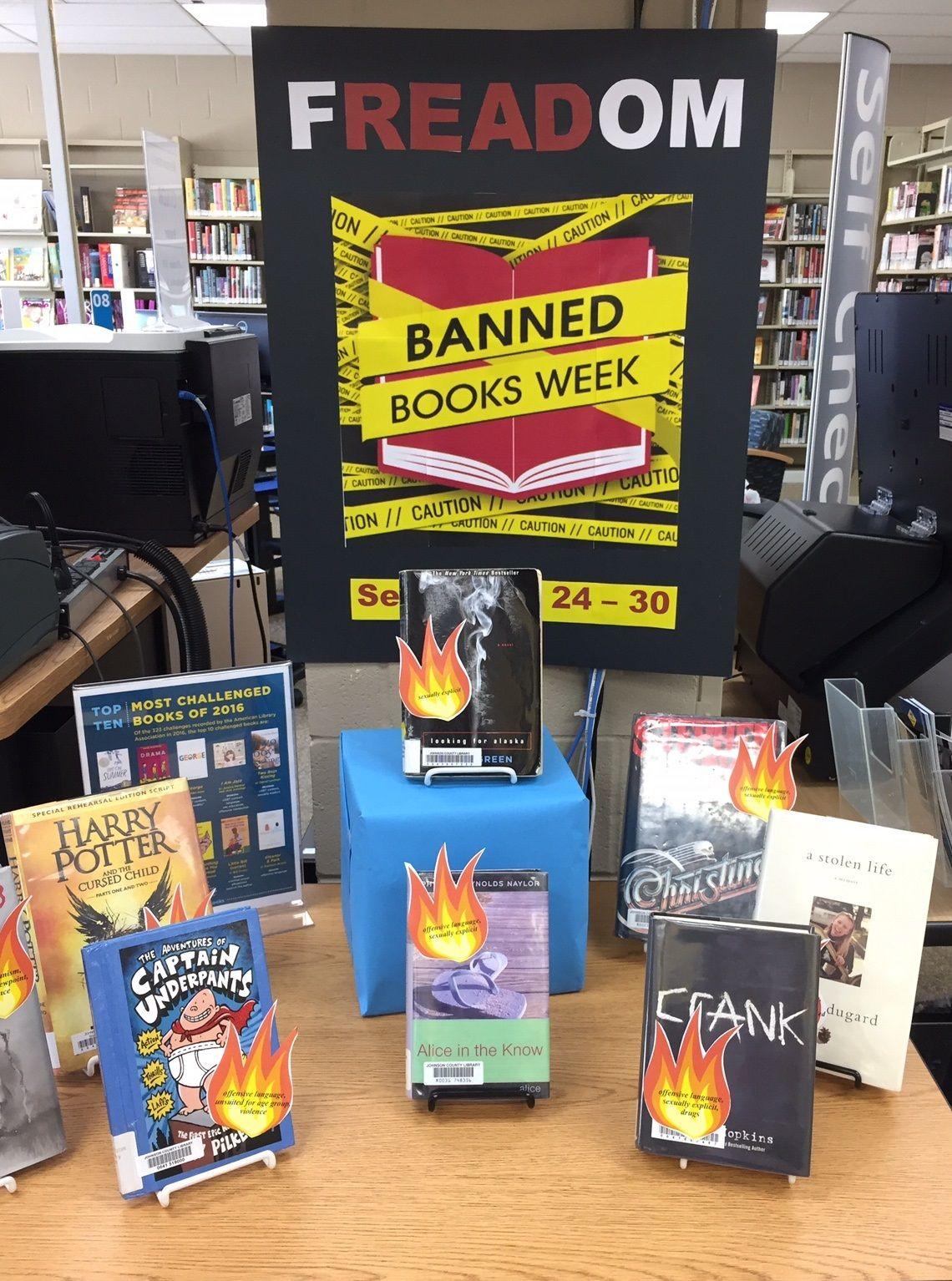 Banned books week display 2017 library book displays