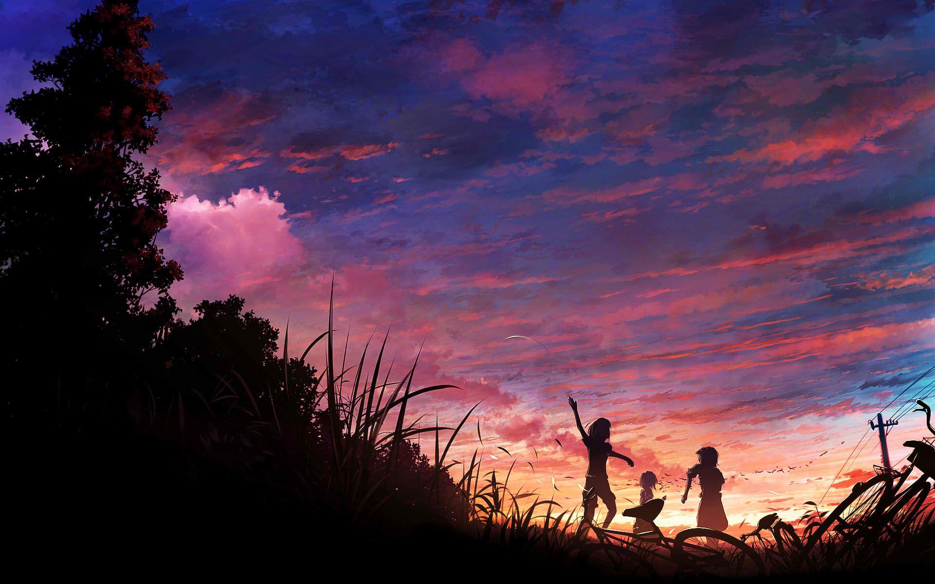 sunset cartooncomic pinterest anime scenery