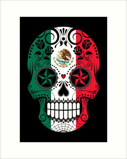Lamina Artistica Calavera Con Rosas Y Bandera De Mexico De Jeff