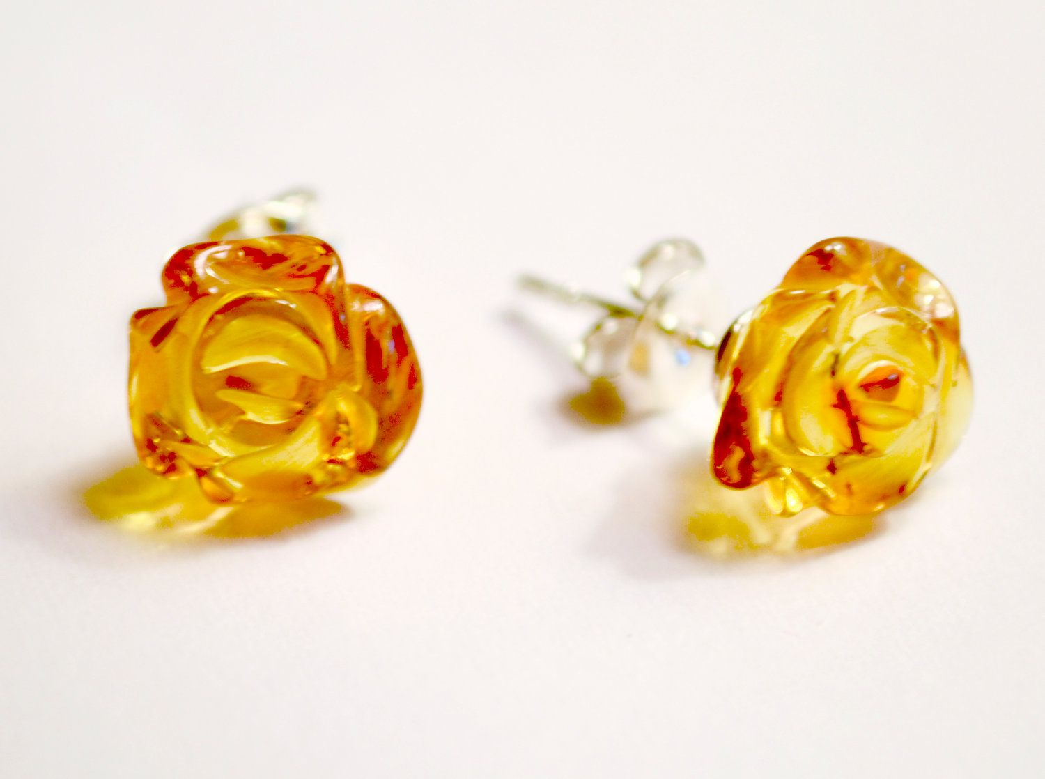 Baltic Amber Earrings Sterling Silver Handmade Rose Carved Honey And