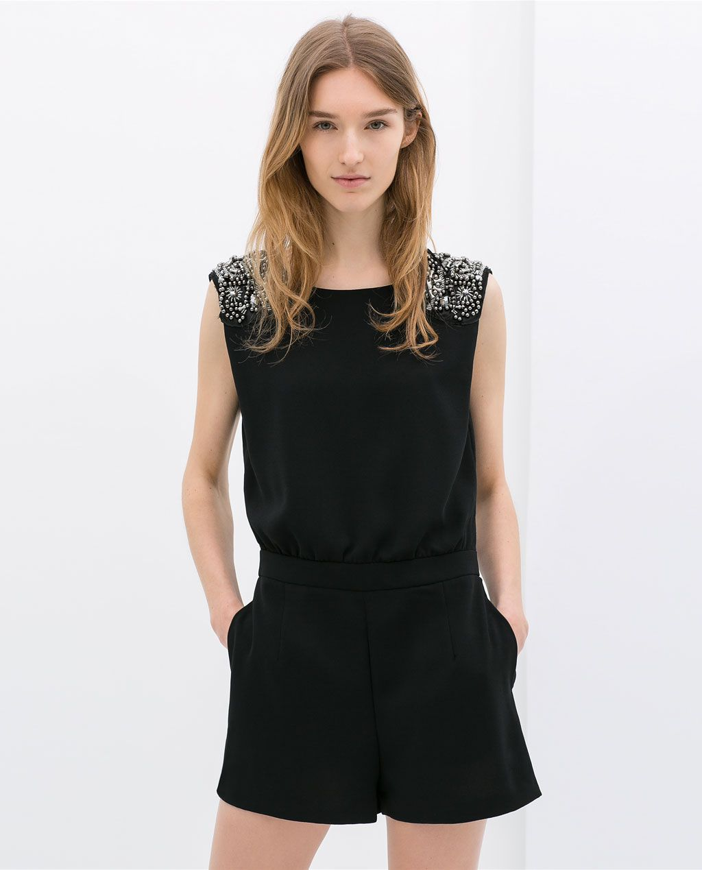 Short jumpsuit with appliquÉs from zara jumpsuits overalls