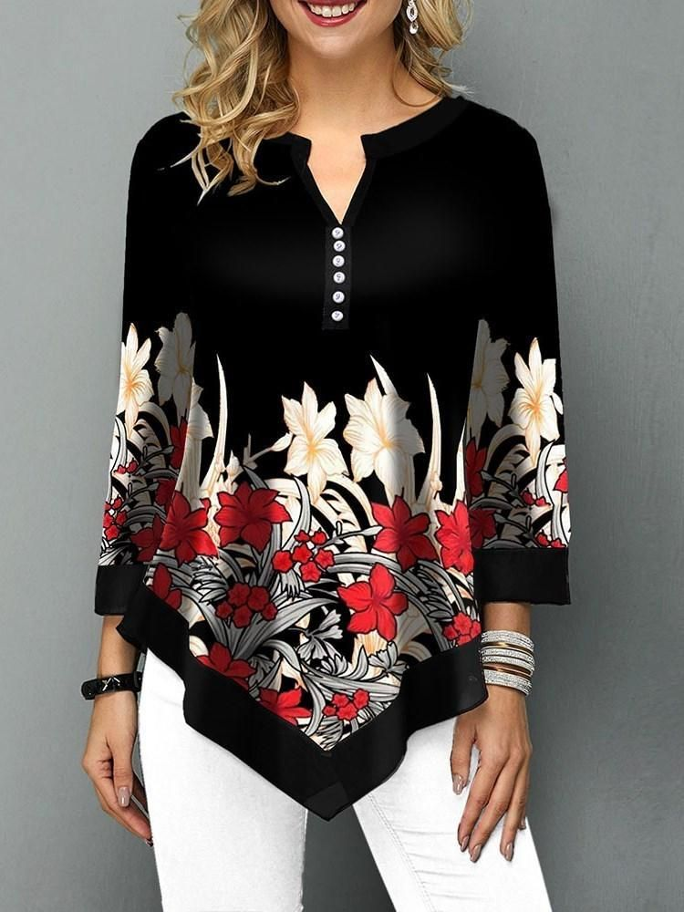 Floral Asymmetric Three-Quarter Sleeve Mid-Length Blouse