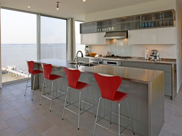 Most Incredible Ways To Make Sleek And Classy Kitchen Design In Grey : The Grey Kitchen With Red Bar Stool