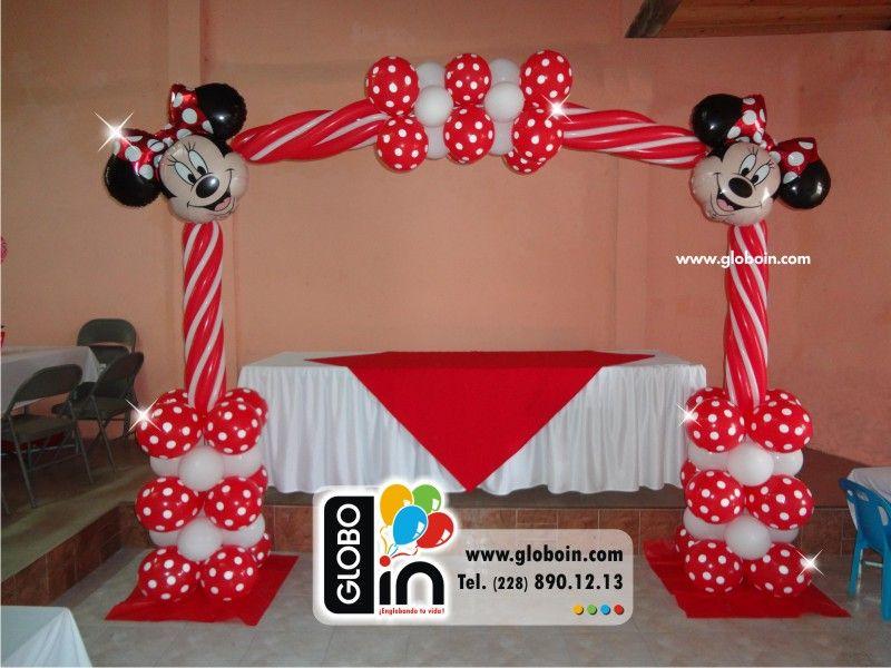Arco de globos minnie mouse roja decoracion con globos for Decoracion minnie mouse
