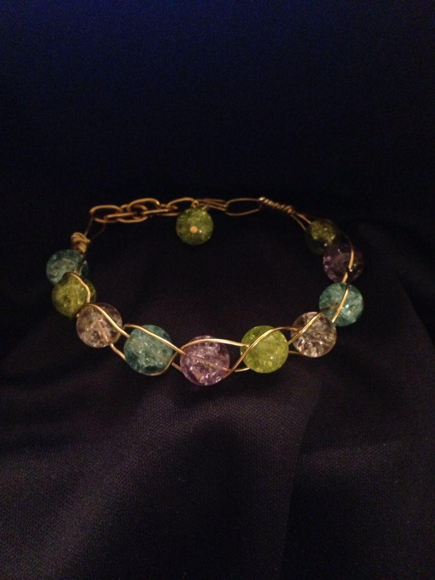 Crackle bead bracelet