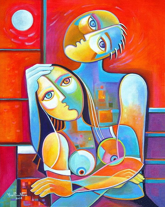 Cubist Abstract Original Large Acrylic Painting Canvas 24x30 Couple In Love Art Cubist Art Painting