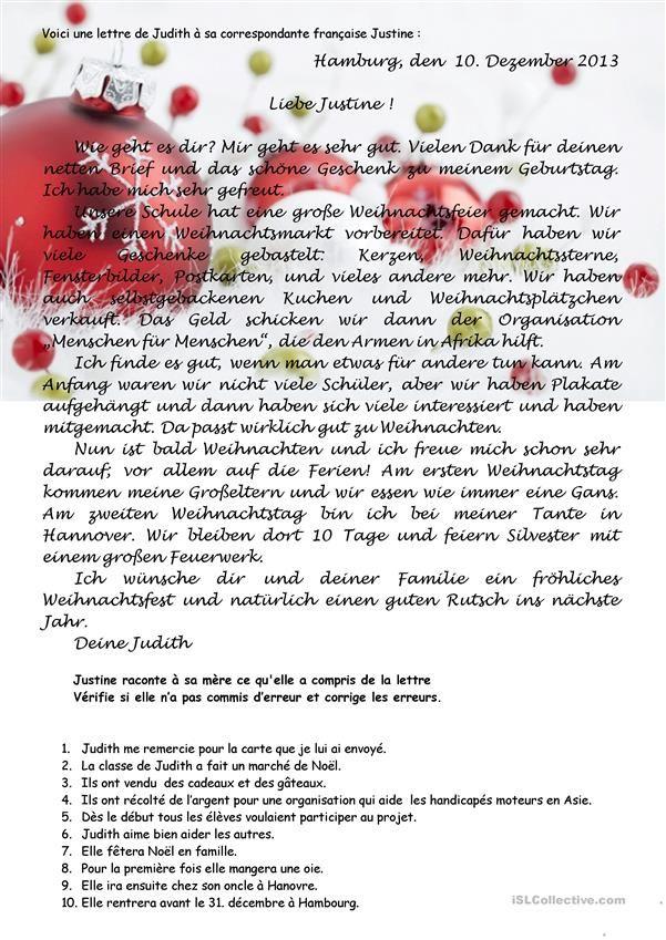 Weihnachtsbrief Leseverstehen   Deutsch