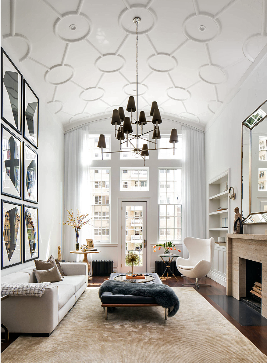 Majestic all white midcentury modern style apartment in NYC with restoration hardware furniture #restorationhardware