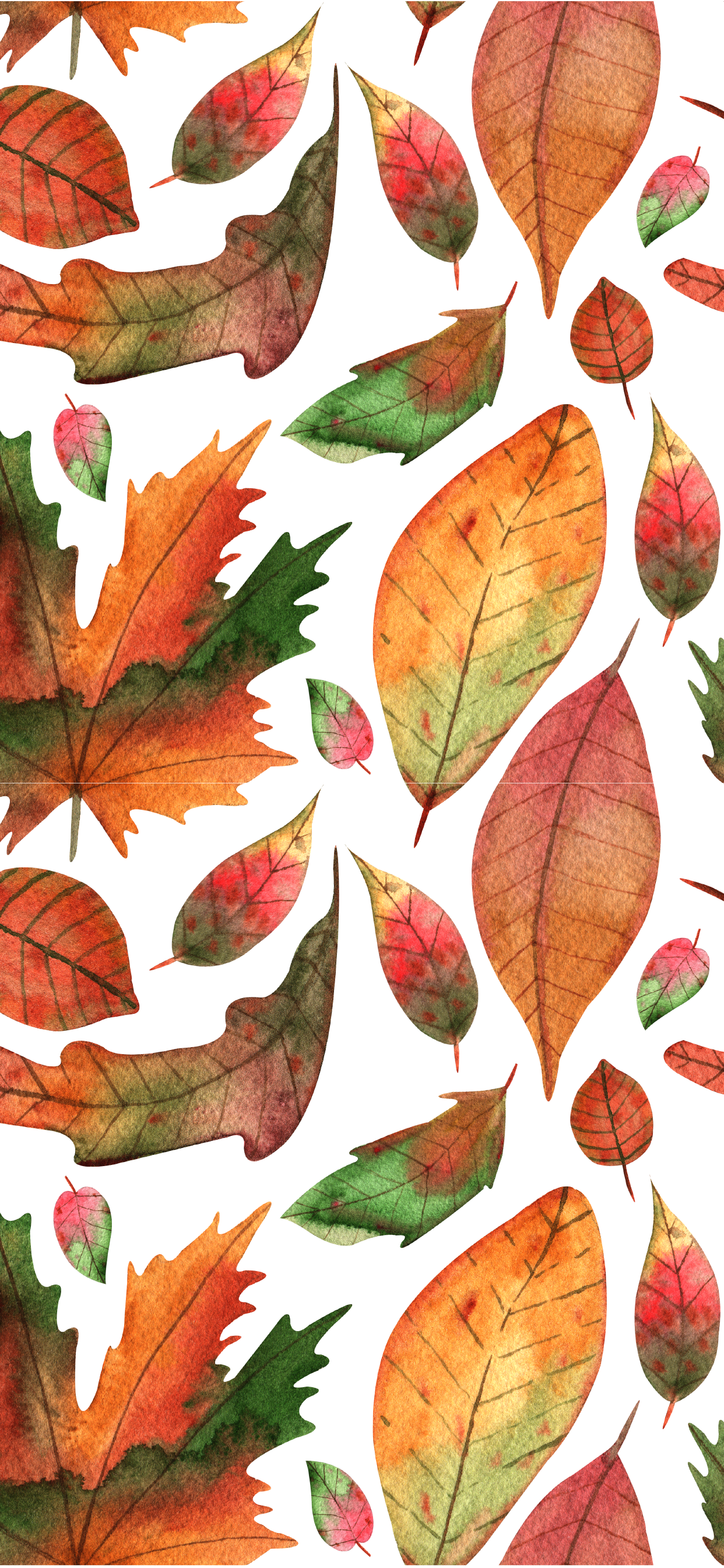 Free Fall iPhone Wallpapers Watercolor Leaves