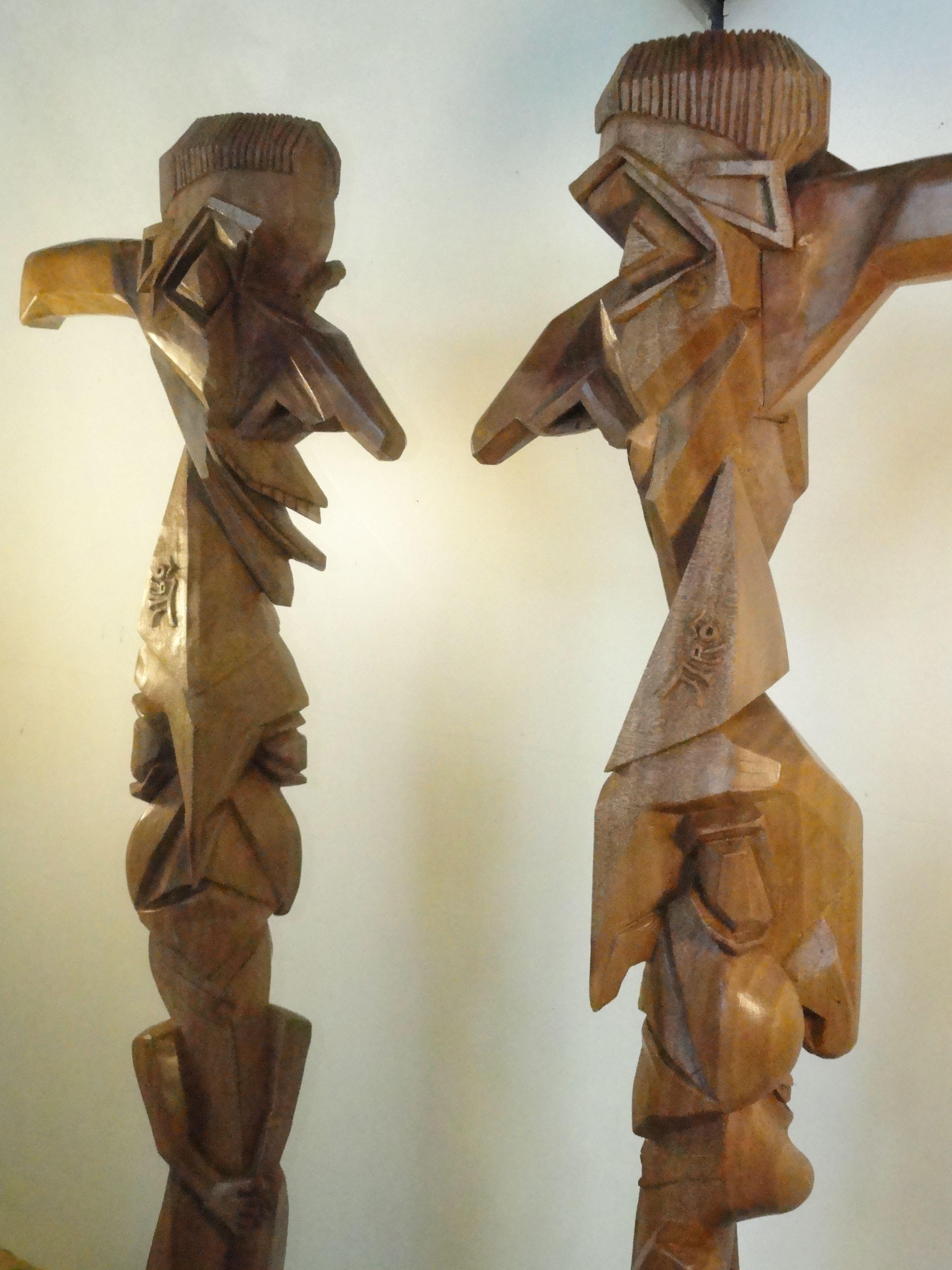 Bâton travaillé dans l' Esprit du Cubisme!... Sculpture Pierre Damiean site: www.pierdam.fr