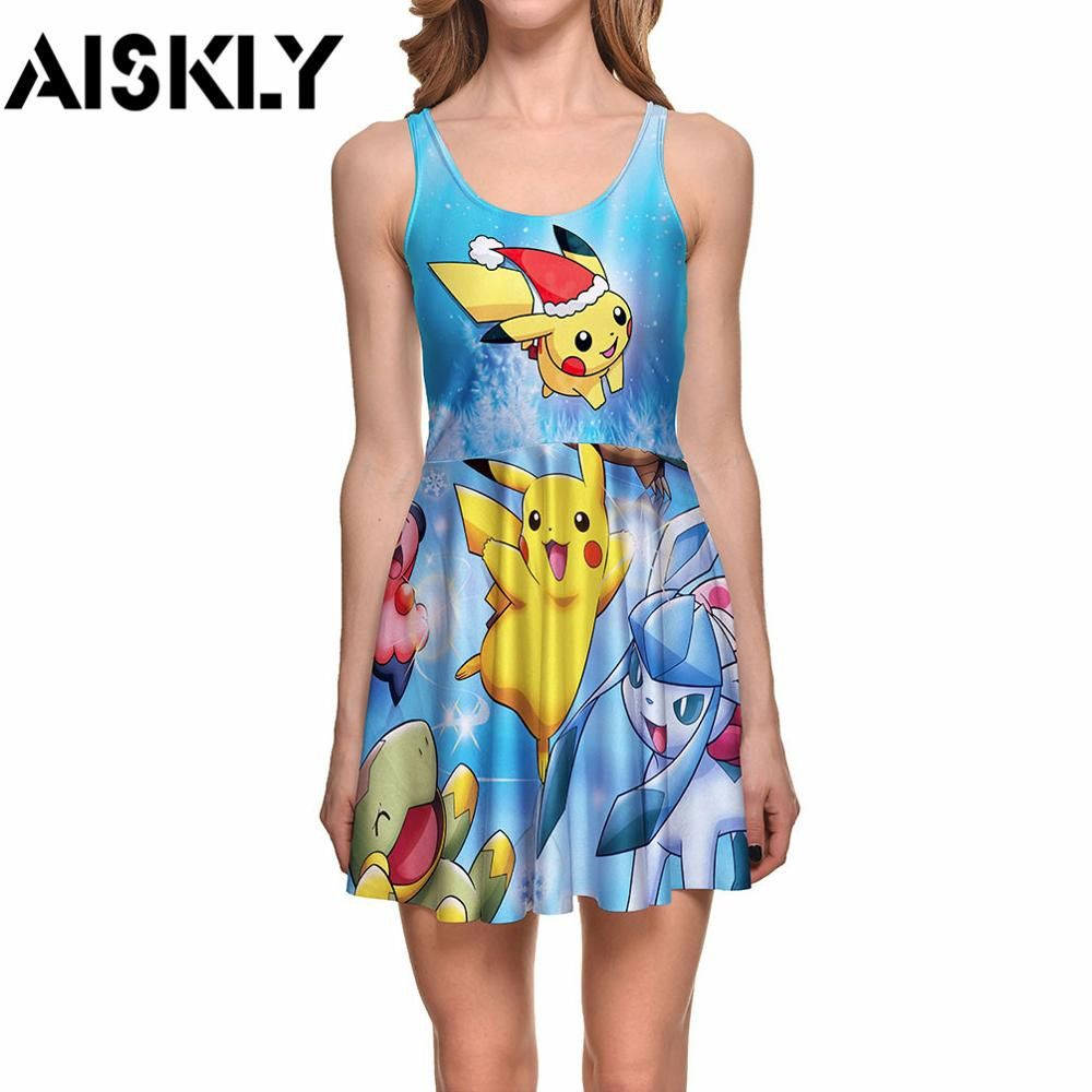 Aiskly dress women d print dress pokemon go pikachu digital