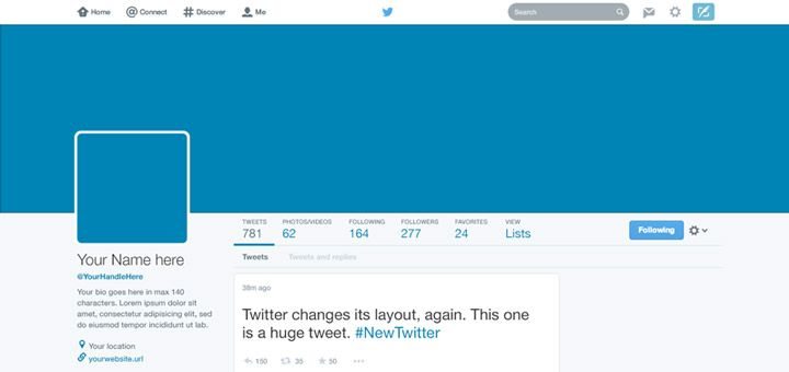 Twitter New profile Design PSD - The Pixy Downloads - Free PSD
