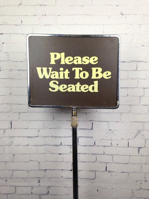 Vintage 1960s Restaurant Sign Please Wait By Wyrembelskisvintage