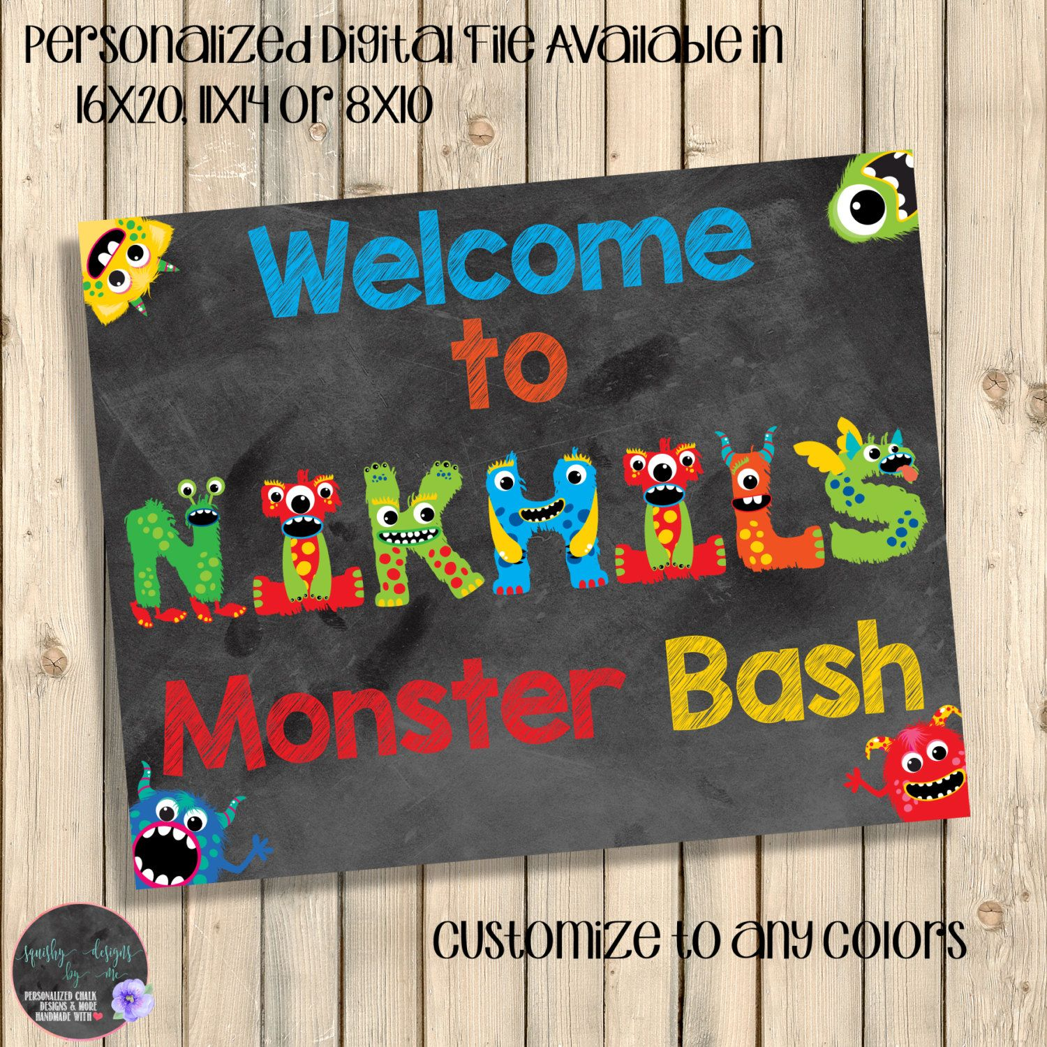 Monsters Party Welcome Sign, Monster Bash Chalkboard Birthday ...
