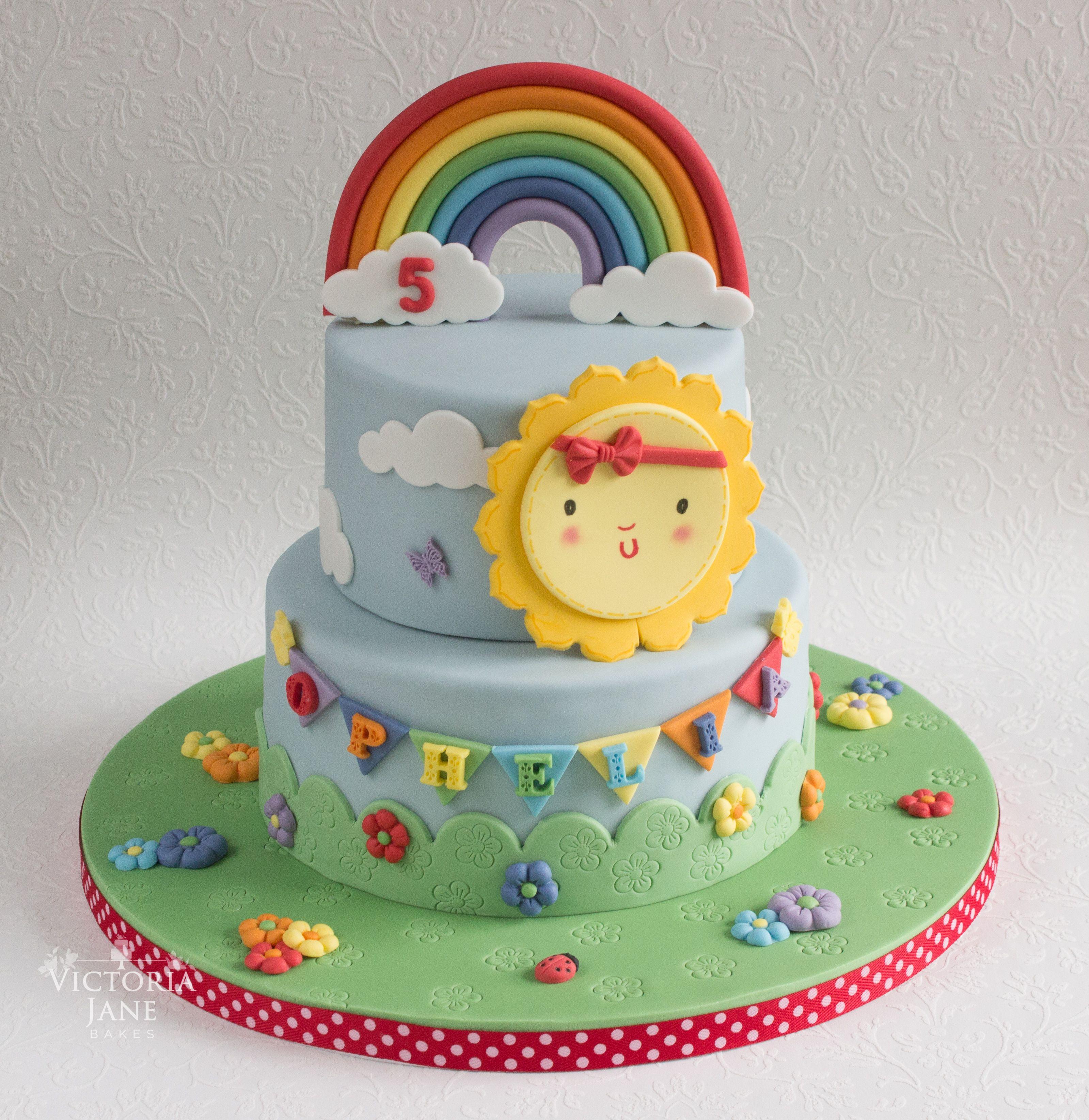 Sunshine And Rainbow Cake With Images Rainbow Birthday Cake Sunshine Cake Novelty Birthday Cakes