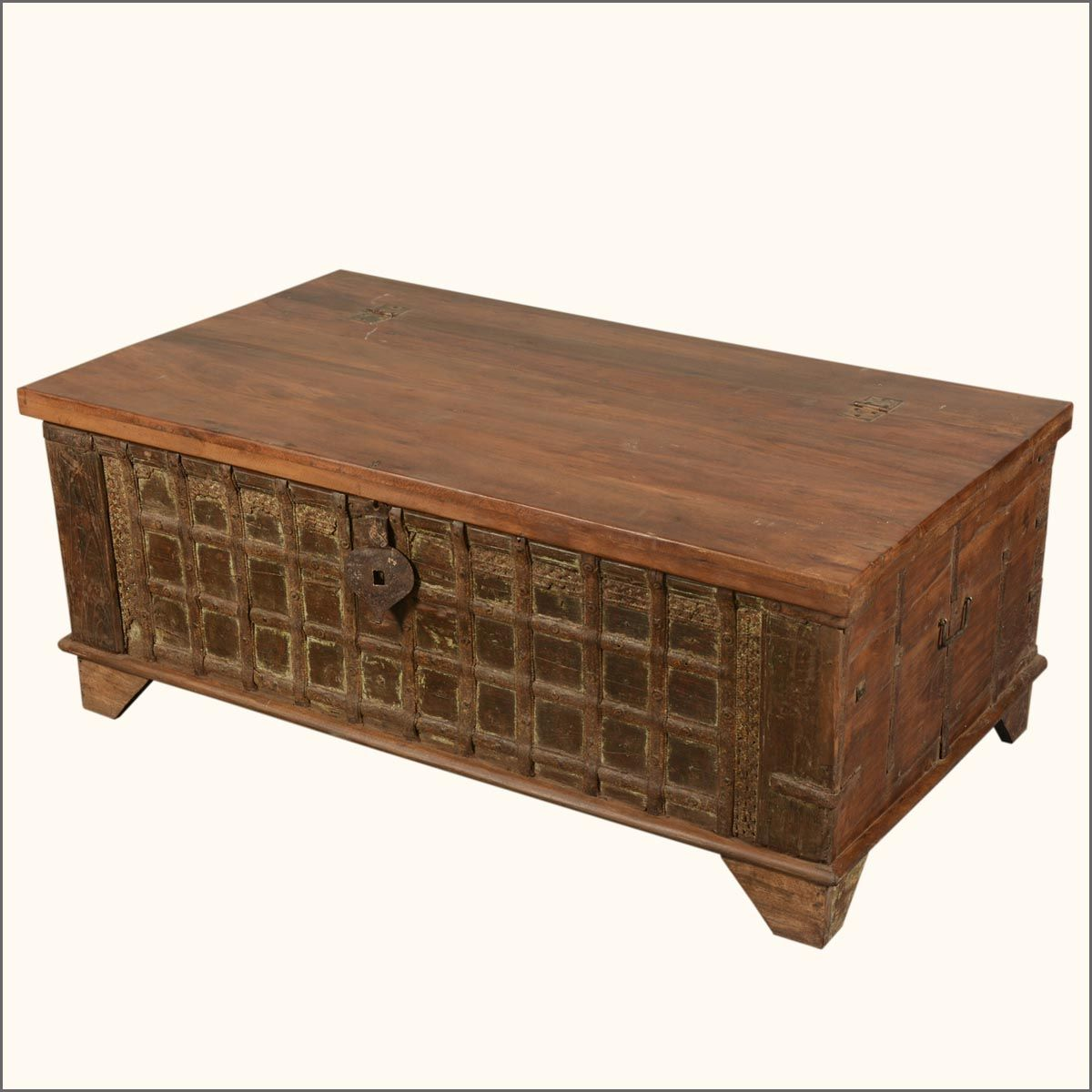 Lovely Iron Gate Front Reclaimed Wood Standing Coffee Table Chest