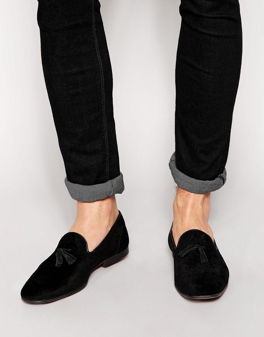 Asos Tassel Loafers In Black Velvet With Floral Design At Asos Com Asos Loafers Dress Shoes Men Branded Loafers