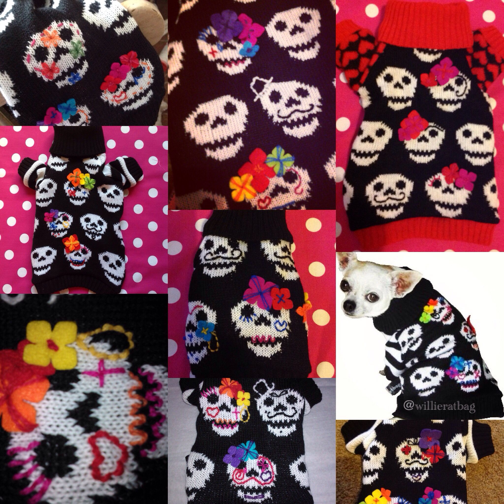 Collage of day of dead dog sweater from willieratbag everyone is