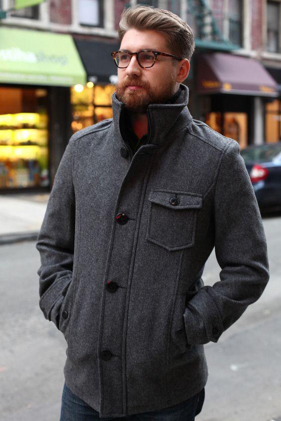 Schott NYC Wool Car Coat - Oxford Grey (DU738)