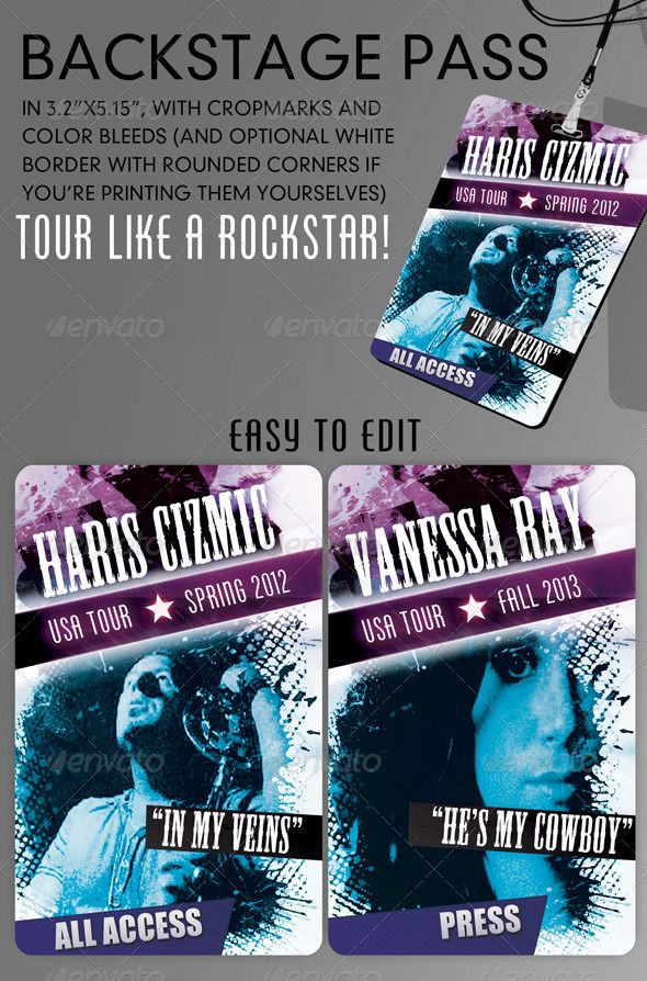 Cool backstage pass template version 20 Print templates, Fonts