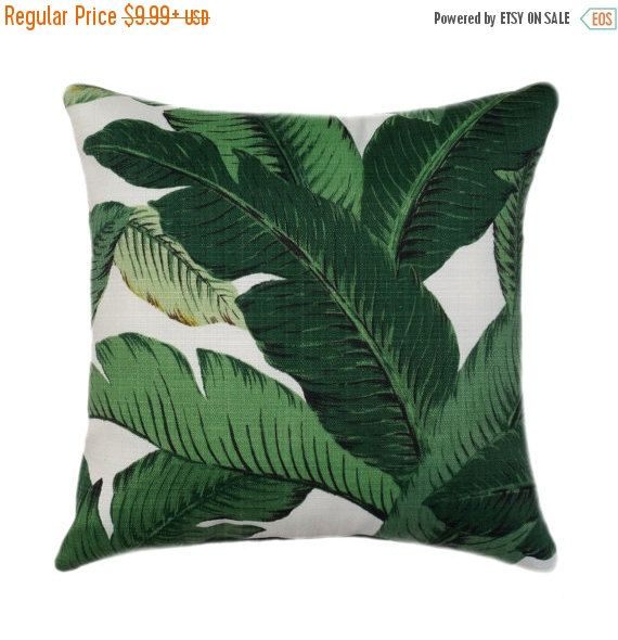 Dark Green Tropical Jungle Zippered Pillow Cover, Large Leaves Outdoor Throw Pillow, Dark Green Banana Leaf Pillow Cover, Swaying Palms Alo