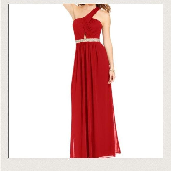 Formal one shoulder dress Dress comes in navy blue, red dress was posted to show how it looks on. Dress was only worn once, in great shape. Size 9 but runs small would for a size 6. Purchased at Macy's. Blondis Nites Dresses One Shoulder