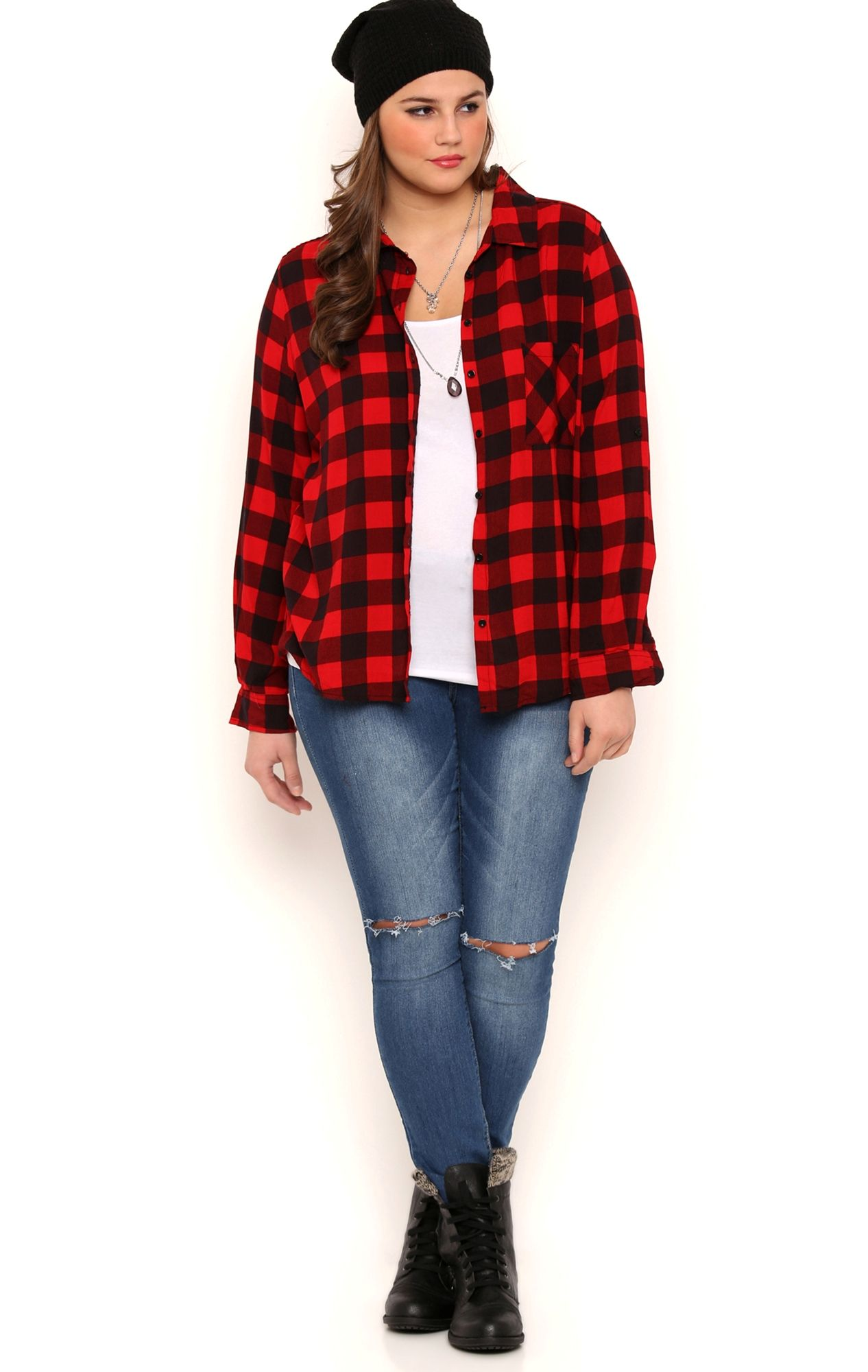 Plus Size Long Button Tab Sleeve Buffalo Plaid Top with Front Pocket