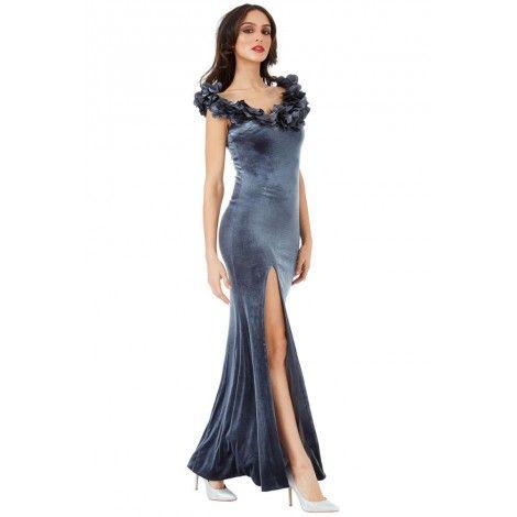 0b6db98d85b Nouvelle robe longue grise avec encolure de pétale de fleur chez Leywess