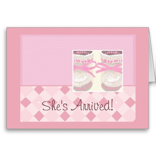 Newborn Baby Girl Announcement Pink Booties New Baby