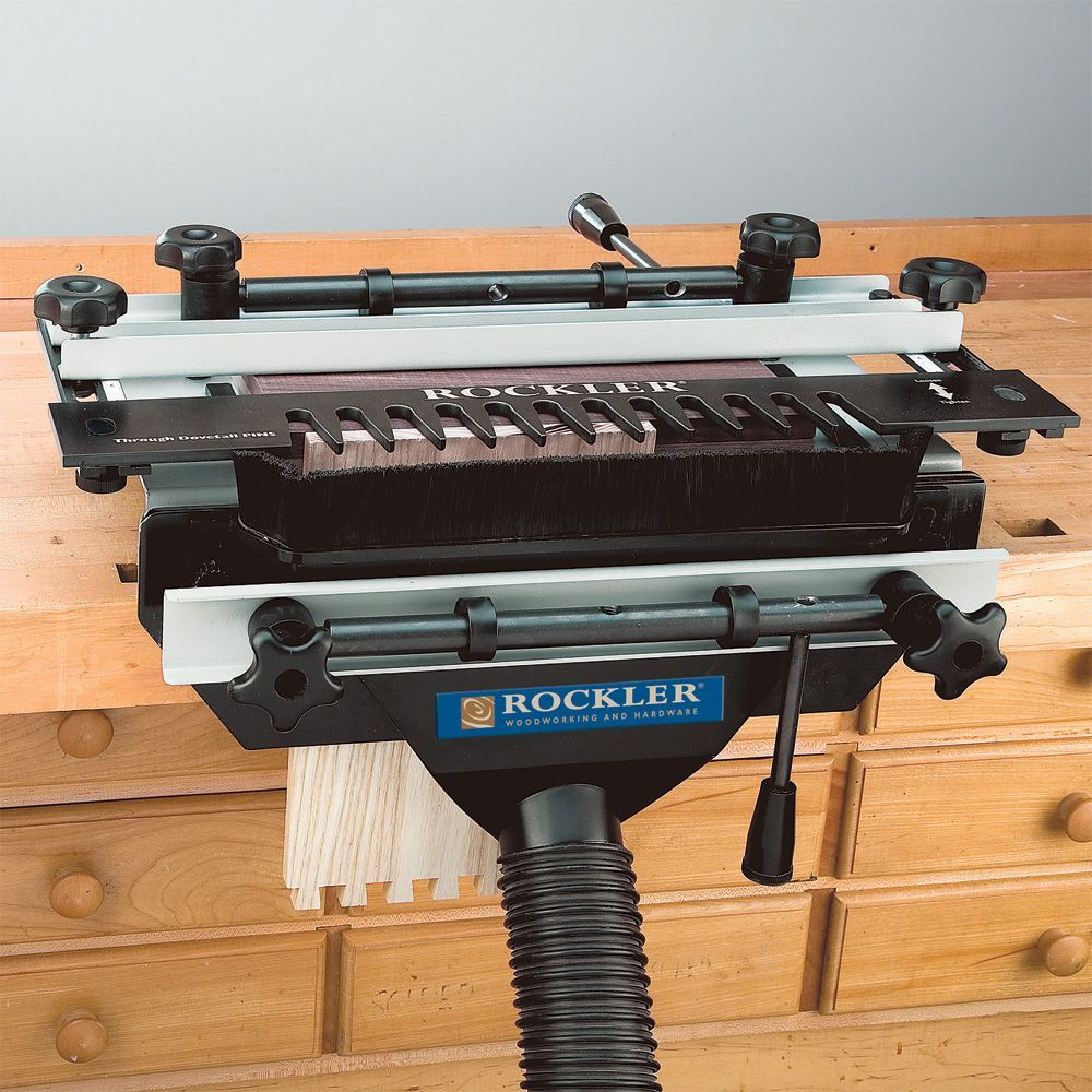 Rockler S Complete Dovetail Jig With Dovetail Jig Dust Collector Combo Dovetail Jig Woodworking Rockler Woodworking