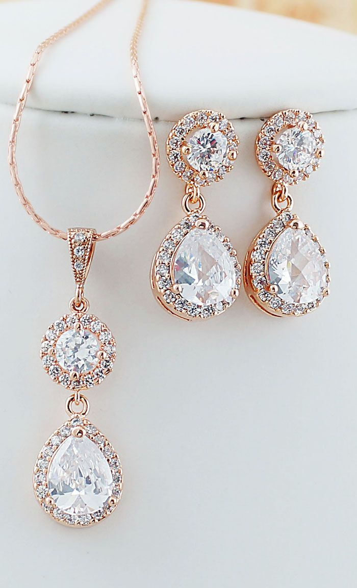 Rose Gold Cubic Zirconia Bridal Jewelry Set Wedding Earrings and