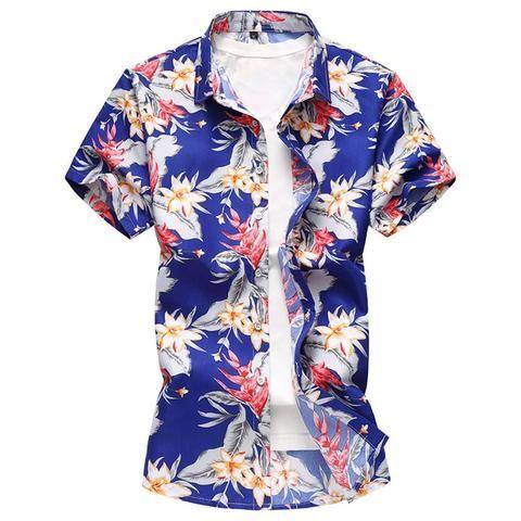 06f801fbc551 2018 New Fashion Summer Mens Flower Shirt Short Sleeve Floral Shirt Plus  Size M-7XL Casual Slim Fit Mercerized Cotton Shirts