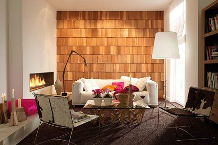 Wohnräume einrichten mit Braun Wandverkleidung, Wohnraum und Braun - wohnzimmer orange braun