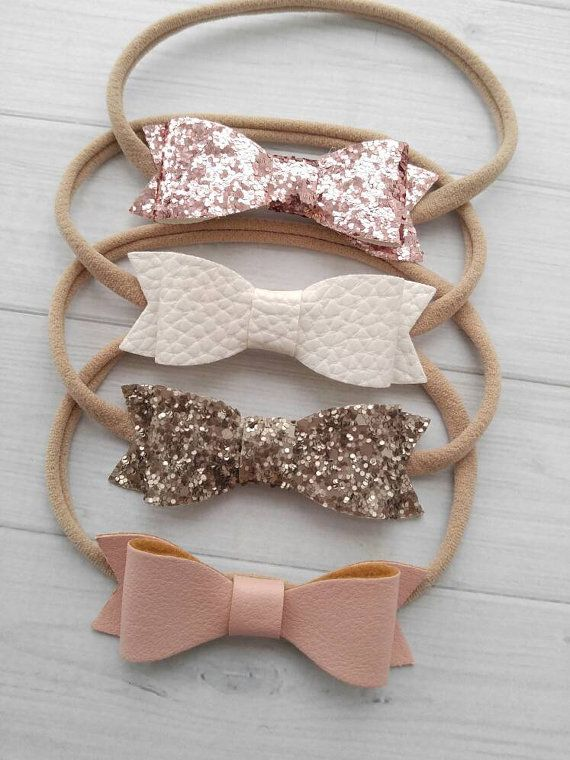 Coral and champagne siblings headband /& hair band SET